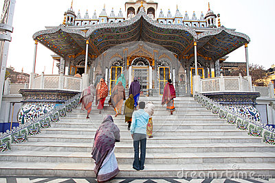 Believer asian women come in temple Editorial Photo