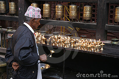 Believer in Golden Temple Editorial Stock Photo