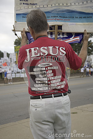 A believer in Jesus Christ protesting Editorial Stock Image