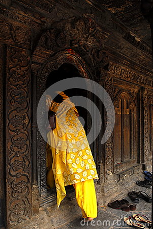 A believer went into a temple Editorial Photography