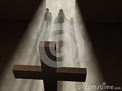 Believers before a cross