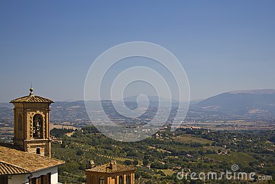 Bell, hills and countryside perugia