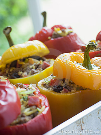 Free Bell Peppers Stuffed With Spiced Rice Royalty Free Stock Photos - 5950018