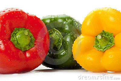 Bell peppers with water droplets