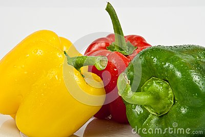 Bell peppers on a white background