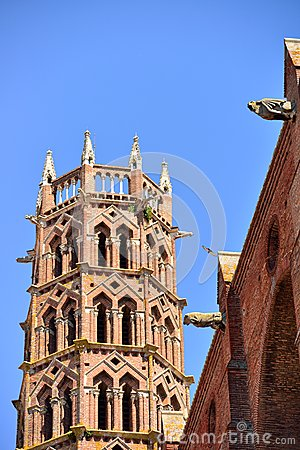 Bell tower of Les Jacobins church in Toulouse