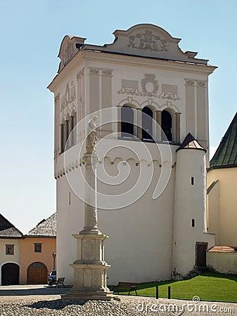 Bell tower and Marian column in Spisska Sobota