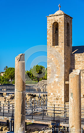 Free Bell Tower Of Panagia Chrysopolitissa Basilica In Paphos Royalty Free Stock Image - 63637226
