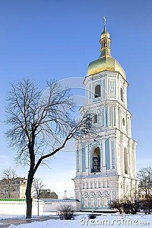 Bell tower of Saint Sophia cathedral in Kiev
