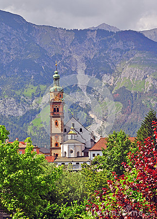 Bell tower in tyrolean Alps