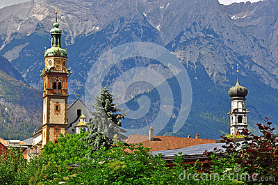 Bell towers in mountains