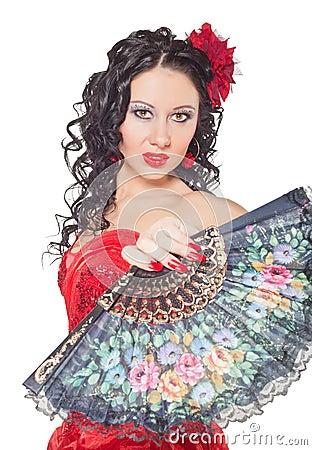 Bella donna spagnola in un vestito rosso fotografia stock for Stile missione spagnola