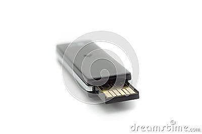 Bella macro nera della chiavetta USB