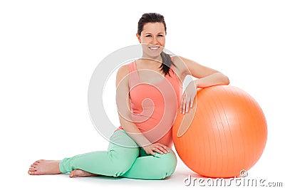 belle femme enceinte avec la boule photo stock image 51322562. Black Bedroom Furniture Sets. Home Design Ideas