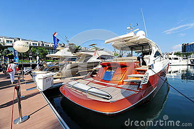 Belle Vie on display at the Singapore Yacht Show 2013 Editorial Photography