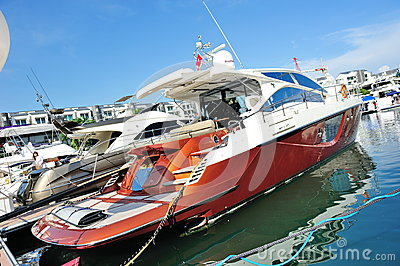 Belle Vie luxury yacht at Singapore Yacht Show Editorial Stock Photo