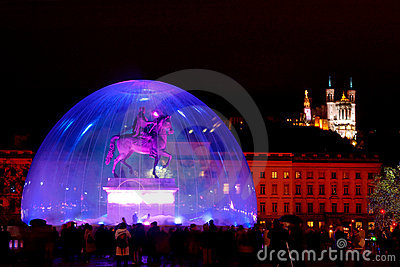 Bellecour square during light fest (Lyon, France)
