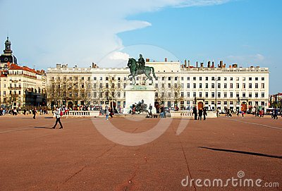 The Bellecour square in Lyon. Statue of Louis XIV.