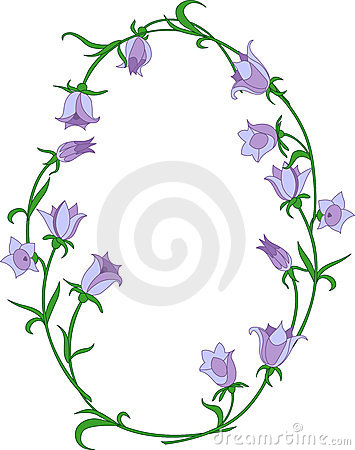 Bellflower ovals frame. Vector illustration