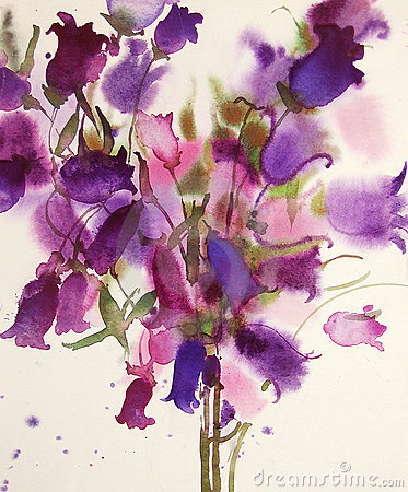 Bellflowers, watercolor