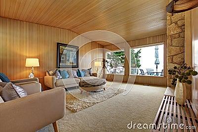 Bello interno della casa con la disposizione di legno for Disposizione della casa 3d