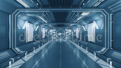 Bello volo fuori dal tunnel futuristico astratto dell'astronave tramite i portoni d'apertura del metallo a luce bianca con l'alfa stock footage