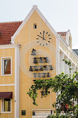 Free Bells And Clock On Yellow Curacao Church Stock Images - 75043394