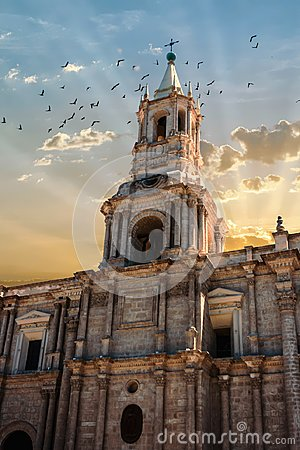 Free Belltower Of The Arequipa Cathedral, Peru At Sunset With Birds Royalty Free Stock Photos - 113099338