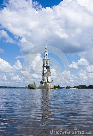 Belltower on river Volga, Kalyazin, Russia