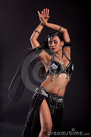 Belly dancer in black costume