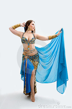 Belly dancer in blue