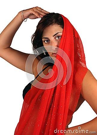 Belly-dancer in red kerchief
