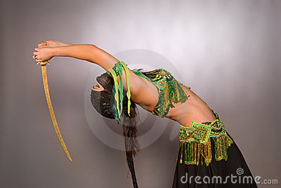 Belly dancer with saber