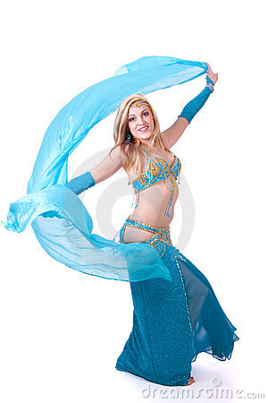 Belly dancer turning with veil