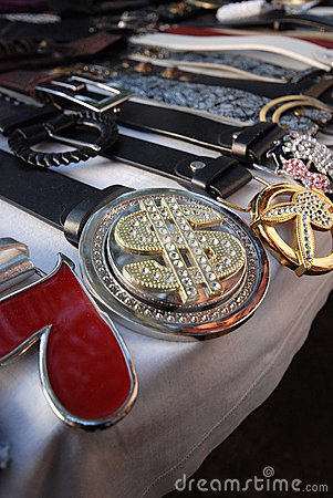 Belts and buckles at market
