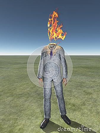 Bemant lichaam met brand