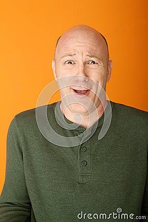 Bemused Bald Caucasian Man