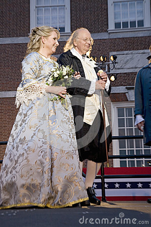Ben Franklin and Betsy Ross actors Editorial Stock Photo