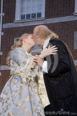Ben Franklin and Betsy Ross kissing Editorial Photography