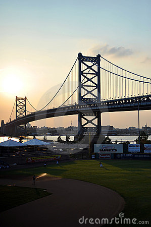 Ben Franklin Bridge & Campbell s Field Editorial Photo