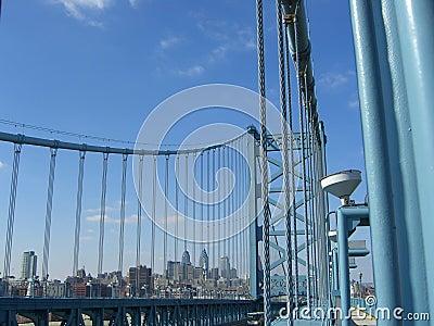 Ben Franklin bridge Filadelfii linia horyzontu
