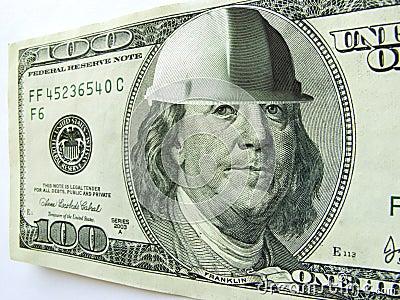 Ben Franklin One Hundred Dollar Bill Wearing Const