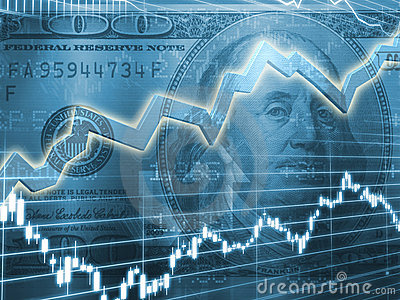 ... of one hundred dollar bill with stock market chart in blue hue
