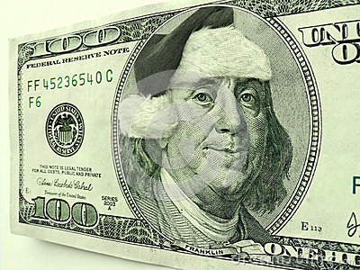 Ben Franklin Wearing Santa Hat For Christmas On This One Hundred Dollar Bill