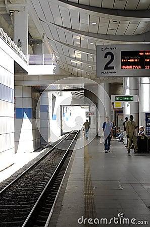 Ben Gurion Train Station, Platform 2 Editorial Stock Image