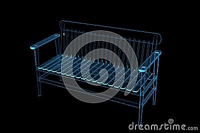 Bench 3D xray blue