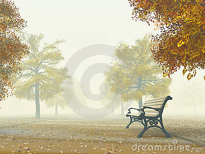 Bench on autumn path
