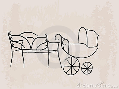 Bench and baby buggy