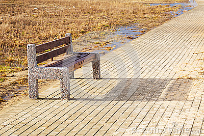 Bench at Baltic sea pathway in Gdansk.