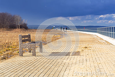 Bench at Baltic sea pathway in Gdansk